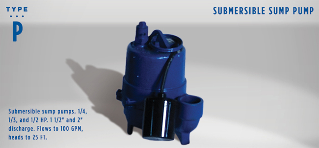 """Federal Type P Sump Pump - The Townsend Group Inc. Submersible sump pumps. 1/4, 1/3, and 1/2 HP. 1 1/2"""" and 2"""" discharge. Flows to 100 GPM, heads to 25 FT."""